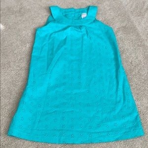 Green eyelet girls sleeveless dress
